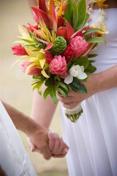 tropical wedding tropical flowers wedding bouquet