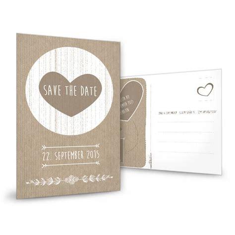 vintage save  date karte mit herz  packpapier optik