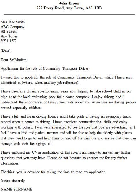 community transport driver cover letter  icover