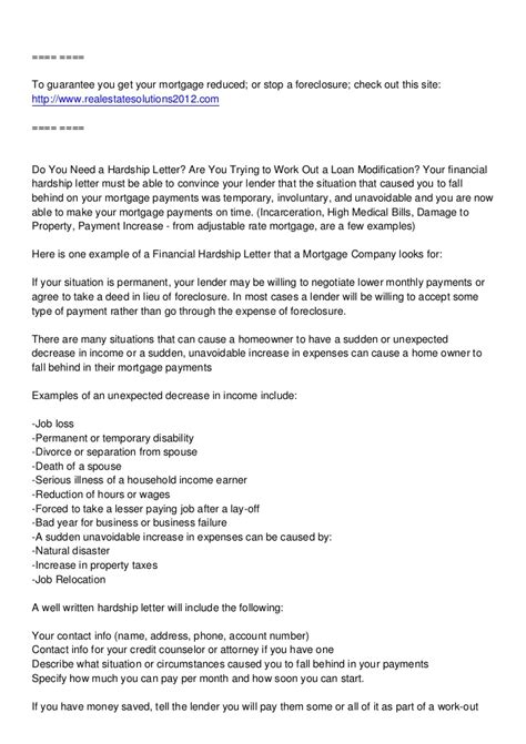 forebearance  hardship letter stop  foreclosure