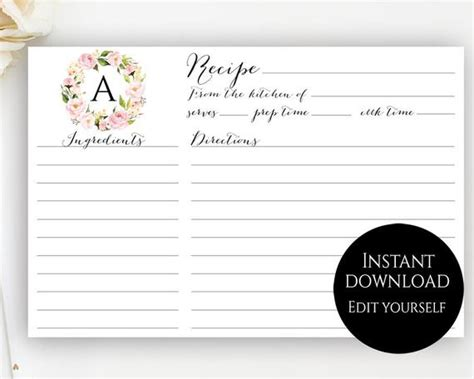 recipe card template editable recipe cards monogram recipe