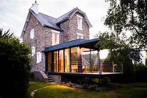 agrandissement vitre d39une maison en pierre clohars With agrandissement d une maison