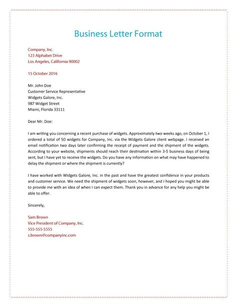 structure  business letter letters  sample