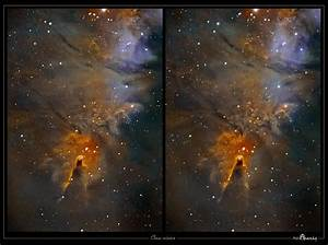 """Astro Anarchy: The """"Cone Nebula"""" as a Stereo Pair 3D study"""