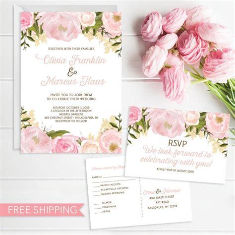 Pink Floral Wedding Invitation Set Wedding Invite RSVP