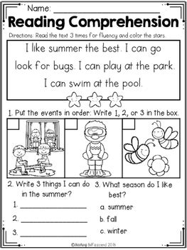 free kindergarten reading comprehension summer edition tpt