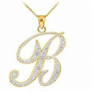 amazoncom 14k yellow gold diamond script initial letter With letter b necklace gold
