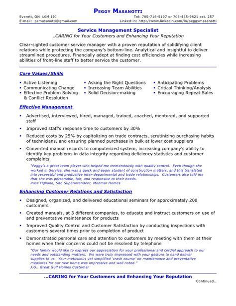 resume  peggy masanotti service management specialist