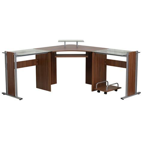 small glass computer desk fleur wood and glass corner desk