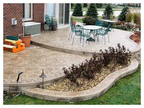 backyard cement patio ideas collection here s a brown tinted two tiered sted concrete patio