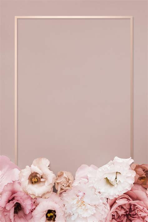 premium psd  beautiful pink floral rectangle