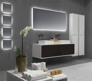 le miroir salle de bains en 17 exemples modernes With salle de bain design avec meuble miroir salle de bain castorama