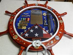 Navy Ship's Wheel Shadow Box II - by jevarn71