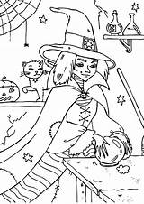 Coloring Crystal Ball Witch Wicked Touch Tocolor Designlooter sketch template
