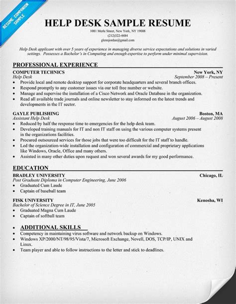 help desk resume exles help desk resume resumecompanion com resume sles