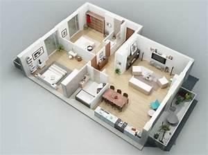 Plan Maison 3d D U0026 39 Appartement 2 Pi U00e8ces En 60 Exemples