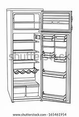 Fridge Refrigerator Empty Open Illustration Vector Vertical Isolated Drink Background Sketch Template Coloring Shutterstock sketch template