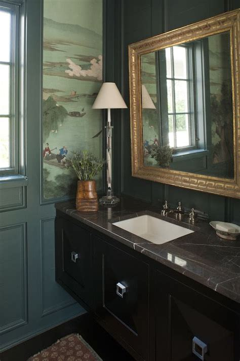 Traditional bathroom with teal painted trim and wood work
