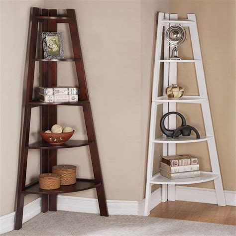 corner wood shelf walnut white 5 tier corner shelf bookcase bookshelf