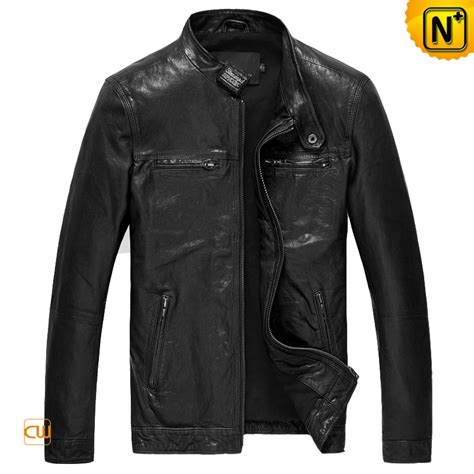 moto biker jacket fitted lambskin leather motorcycle jacket for men cw850126