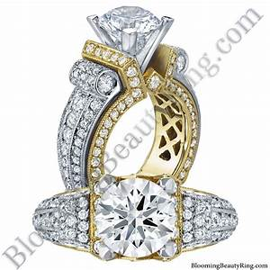 Two toned scrolling tiffany round diamond engagement ring for Wedding diamond rings