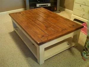 Second chance decor finally for us quotthickquot girls and a for Coffee table white legs wood top