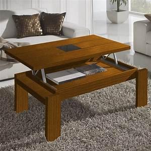 Table De Salon Bois : table basse relevable bois ~ Teatrodelosmanantiales.com Idées de Décoration