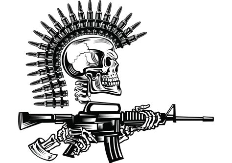 skull 4 bullet mohawk machine gun ammunition ammo weapon soldier war battle logo svg