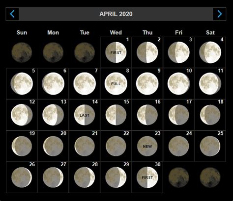 printable april  moon phases calendar  moon