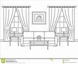 Illustr Entwurfsvektor Rauminnenraum Flachen Finestra Interno Venster Zaal sketch template
