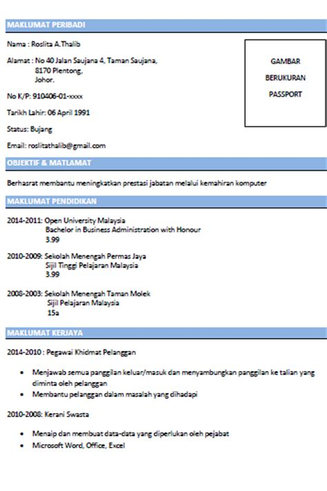 contoh cover letter resume bahasa melayu cover letter