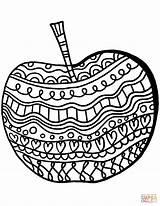 Apple Coloring Pattern Apples Printable Colorings Fruits Drawing Kerra Supercoloring Categories sketch template