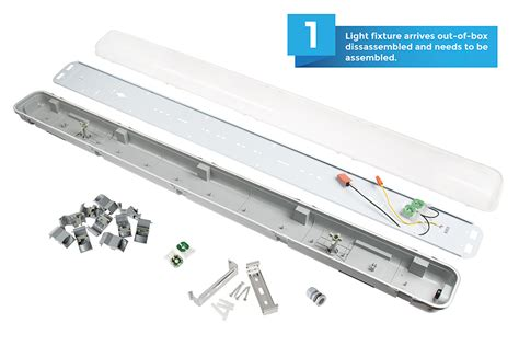 t8 led vapor proof light fixture for 2 led t8
