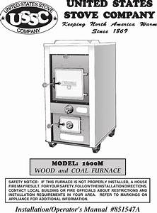 United States Stove 1600m Users Manual