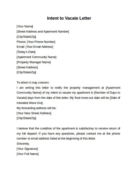 intent  vacate letter   samples examples formats