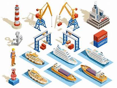 Vector Seaport Isometric Icon Port Sea Clipart