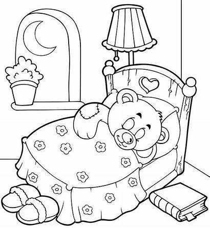 Coloring Pages Sleepover Bear Teddy Sleep Party