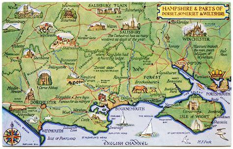 postcard map  hampshire  parts  dorset somerset
