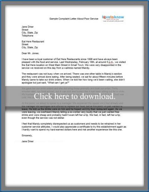sample complaint letter lovetoknow