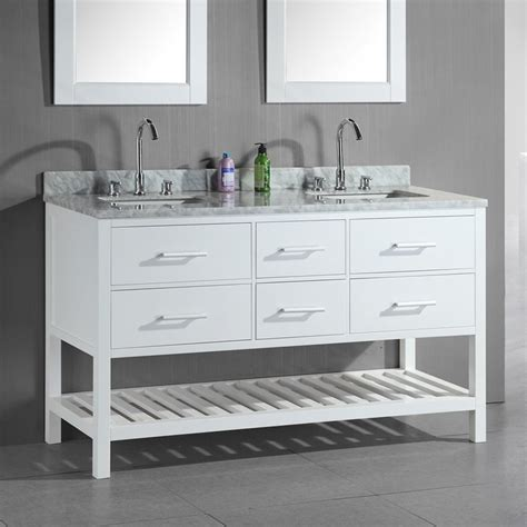 White Bathroom Vanity With Marble Top by Shop Design Element White Undermount Sink
