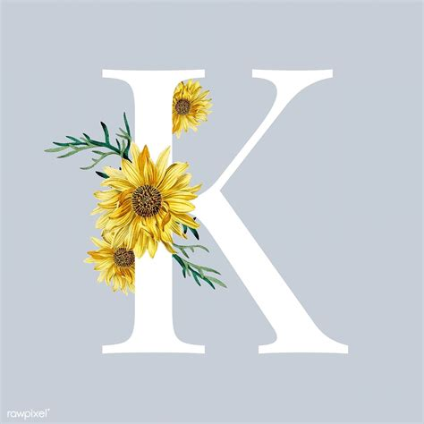 white alphabet   decorated  hand drawn sunflower vector  image  rawpixelcom