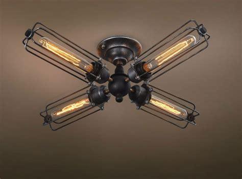 Vintage Industrial Retro Rustic Cage Ceiling Lamp