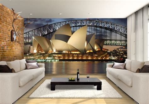 Living Room L Sydney by Sydney Opera House Custom Wallpaper Mural Print By Jw