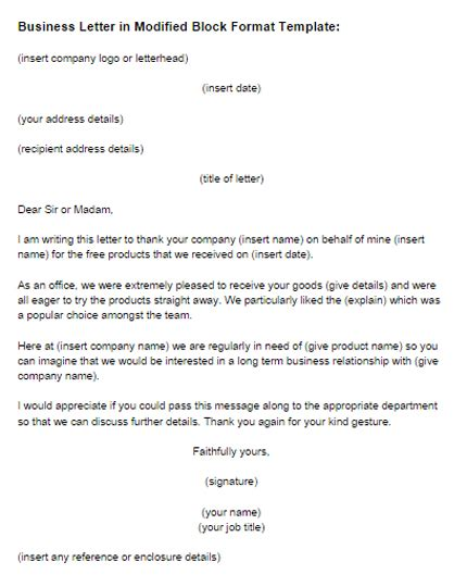business letter modified block format template