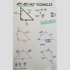 Free Special Right Triangles Interactive Notebook Page For 454590 Triangles Geometry