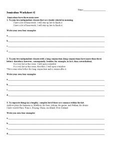 semicolons worksheet worksheet    grade