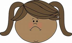 Sad Face Little Girl Clip Art - Sad Face Little Girl Image