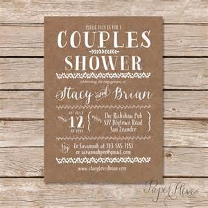 rustic wedding shower invitations couples shower invitation kraft paper background rustic wedding digital printable file
