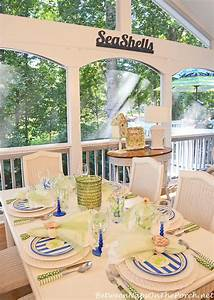 A, Summer, Porch, With, A, Beach, Themed, Table, Setting, Tablescape