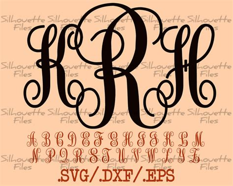 monogram vine font design files     silhouette